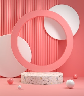 Rendering minimal modern stand show produkt mit pink velvet concept