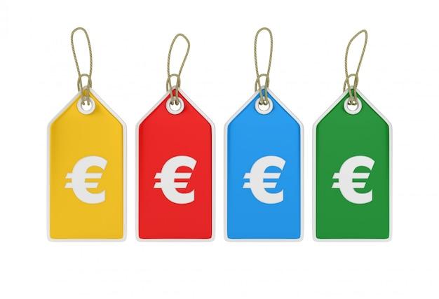 Rendering von euro sign hanging shopping preisschilder