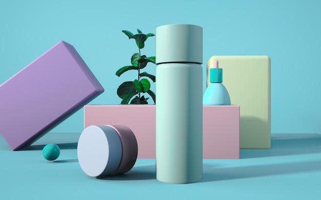 Rendern einer kosmetischen produktanzeige mit geometrischem formhintergrund