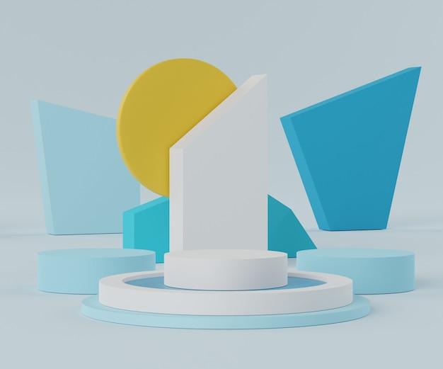 Rendern einer minimalen leeren podiumszene mit geometrischen formen für die produktpräsentation