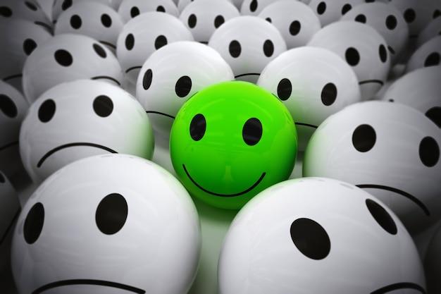 Rendern eines grünen balls mit smiley-gesicht unter so vielen weißen traurigen bällen. glücklicher führer unterstützt sein negatives team