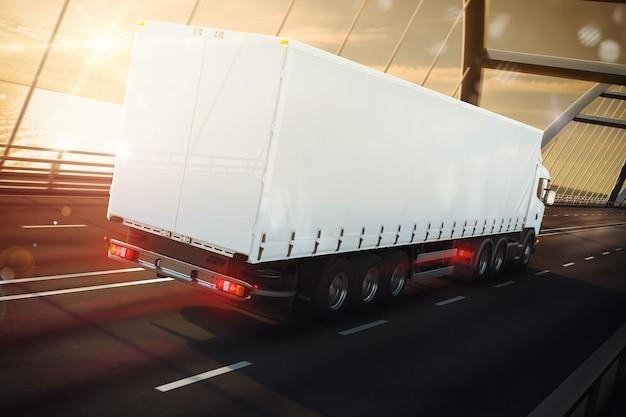 Rendern eines weißen lastwagens auf einer seebrücke