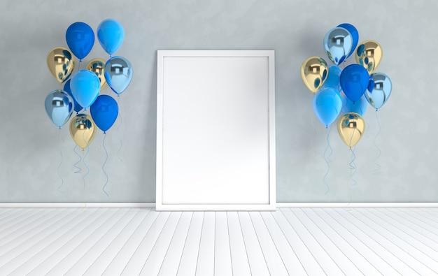 Rendern sie das interieur mit glänzenden luftballons und einem leeren posterrahmen im raum