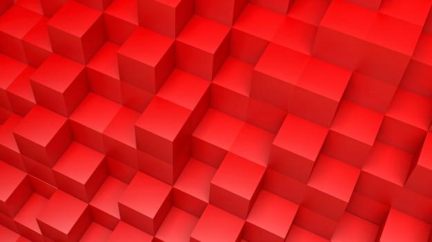 Rendern vieler roter glänzender 3d-würfel in einer perspektivischen ansicht