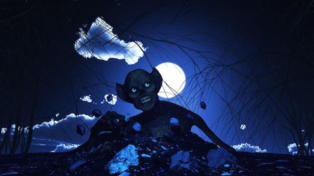 Rendern von einem halloween-hintergrund 3d mit zombie aus dem boden ausbricht