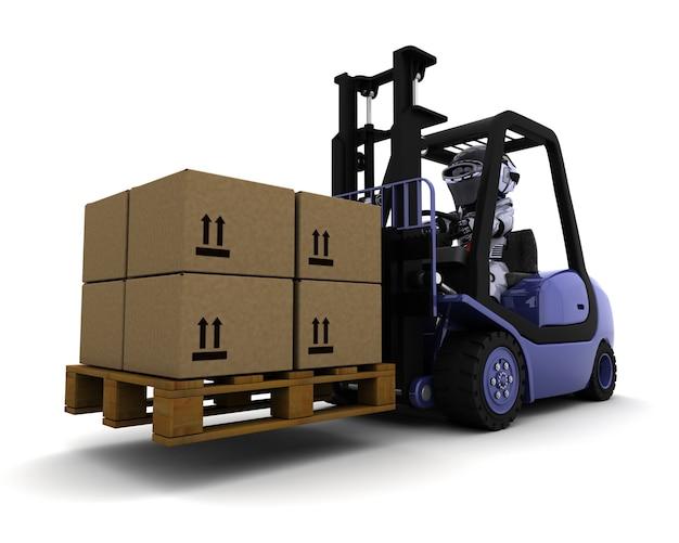 Rendern von roboter-3d ist ein lift truck driving