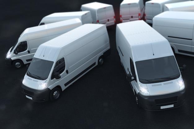 Rendern von weißen lastwagen, die nebeneinander geparkt sind