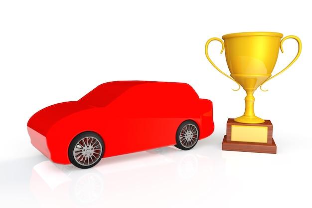 Rennkonzept. rotes auto mit goldener trophäe auf weißem hintergrund