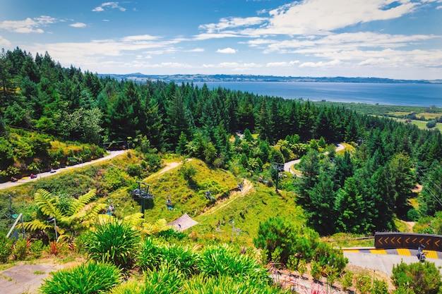Rennrodelbahn und panoramablick von rotorua stadt, neuseeland