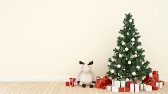 Rentierpuppe mit Weihnachtsbaum und Geschenk im Wohnzimmer