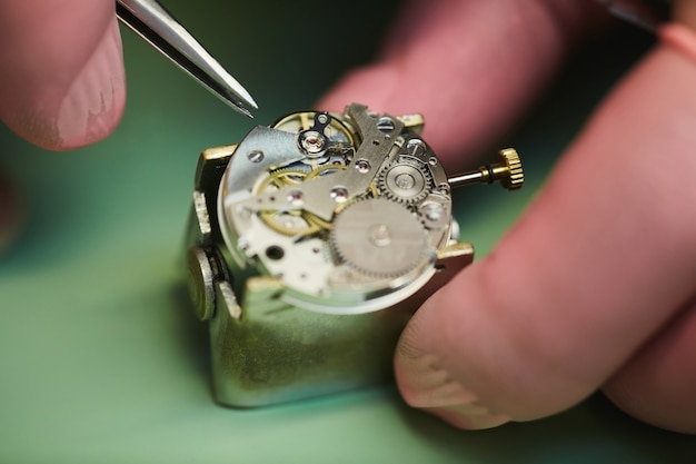 Reparatur der armbanduhr