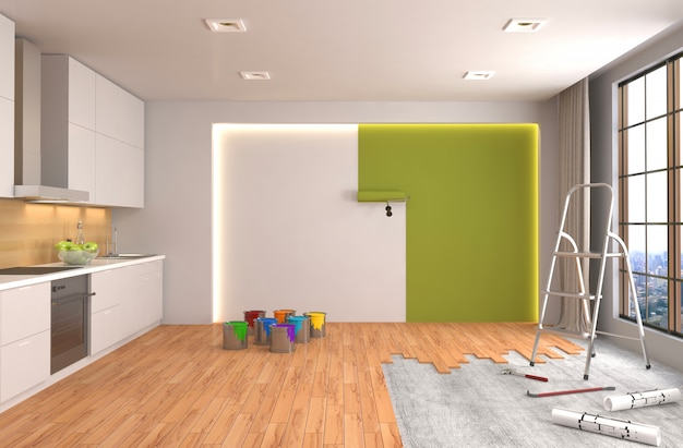 Reparatur und lackierung von wänden im raum. 3d-illustration.