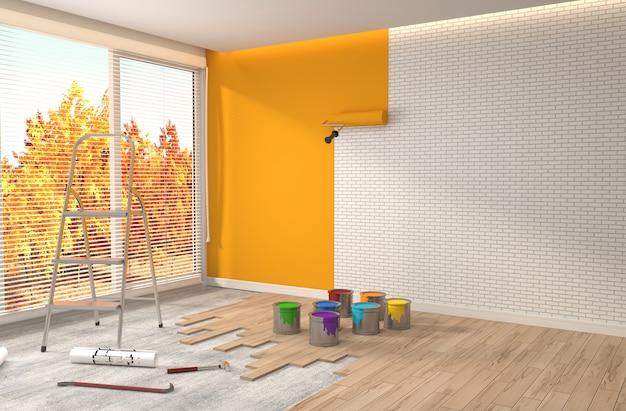 Reparatur und lackierung von wänden im raum