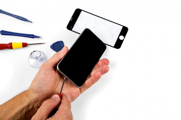 Reparatur von mobiltelefonen. reparieren sie smartphones und tablets