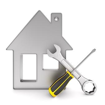 Reparieren sie ihr zuhause auf einem weißen platz. isolierte 3d-illustration