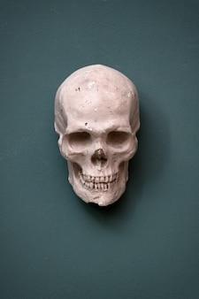 Replik eines menschlichen schädels, der an einer blaugrünen wand hängt, die von halloween, tod und morbidität konzeptuell ist