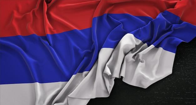 Republika srpska-flagge auf dunklem hintergrund gestrickt 3d render
