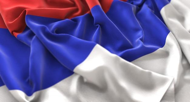 Republika srpska flagge ruffled winkeln makro nahaufnahme schuss