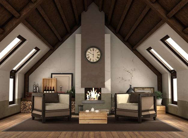 Rertro dachboden mit kamin mit zwei sesseln