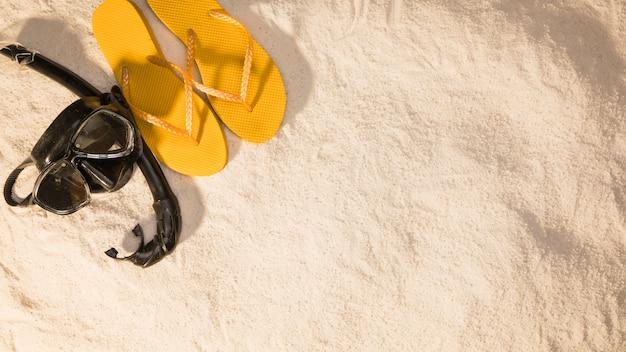 Resort schnorchel maske und flip flops