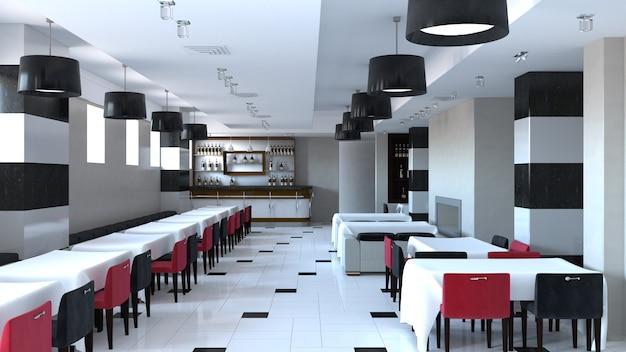 Restaurant, innenvisualisierung, 3d-illustration