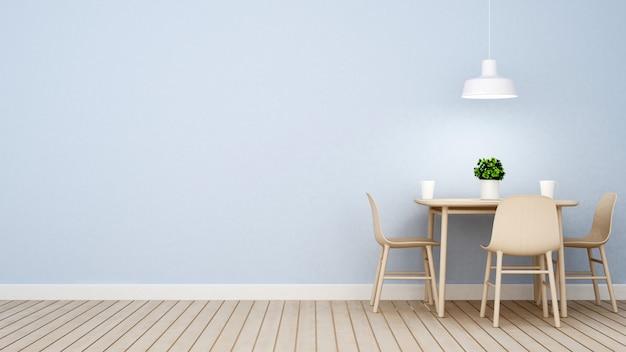 Restaurant oder kaffeestube auf blauer wiedergabe des wanddesigns 3d