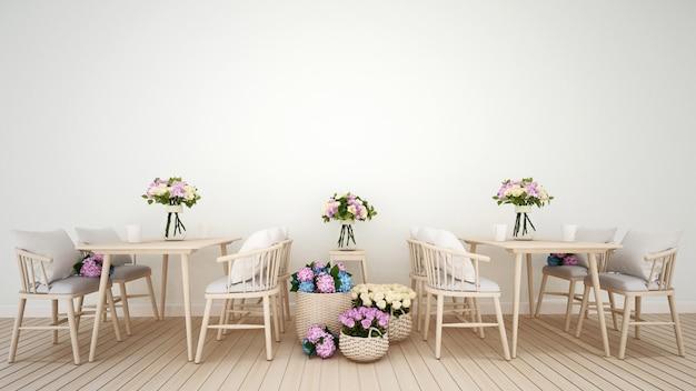 Restaurant- oder kaffeestubedekorationsblume wiedergabe 3d