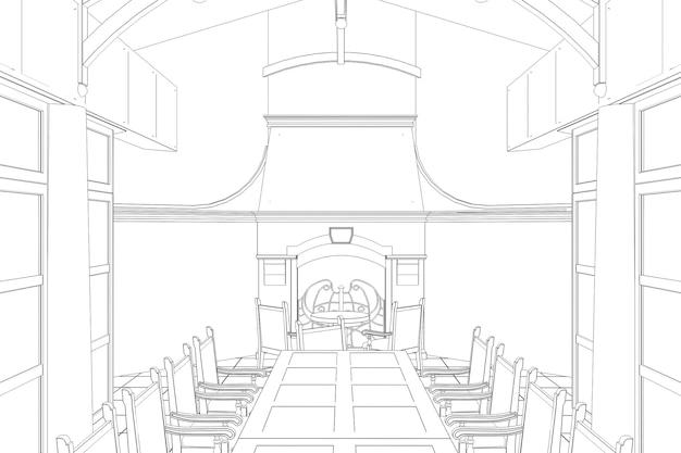 Restaurant sommerterrasse 3d-illustration skizze umriss