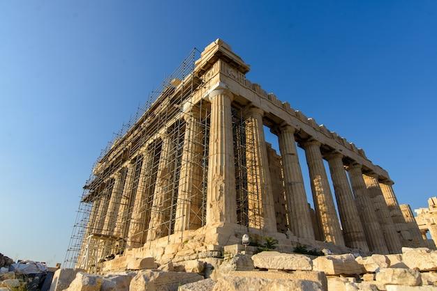 Restaurierung der akropolis. griechenland, athen, 24.08.2019.