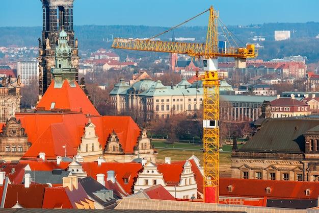 Restaurierungsarbeiten in der altstadt, dresden, deutschland