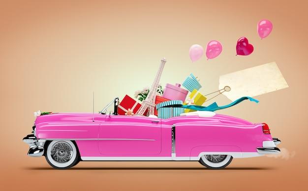 Retro auto mit einkäufen und modeboxen
