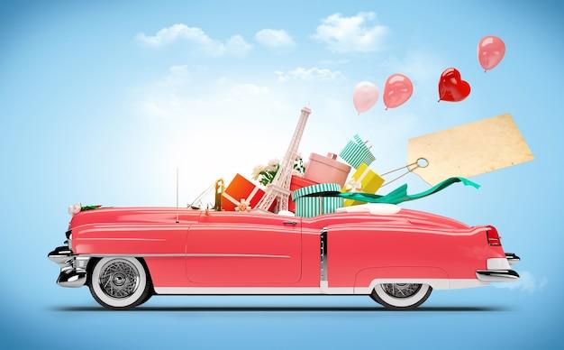 Retro-auto mit einkäufen und modeboxen