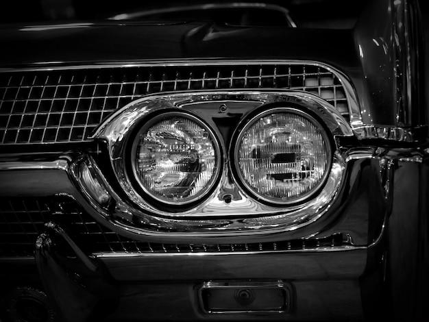 Retro- autoscheinwerfer, nahaufnahme.