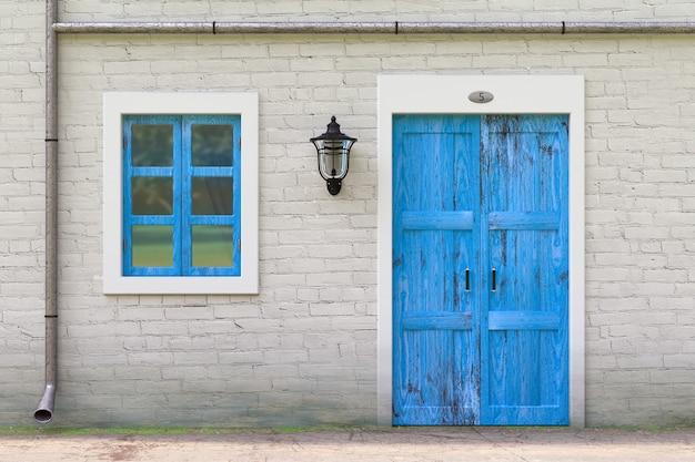 Retro blaue tür, fenster, dachrinne in old grunge white brick wall mit vintage iron lantern extreme nahaufnahme. 3d-rendering