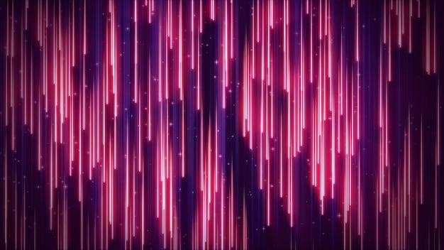 Retro-blauer blauer hintergrund der 3d-illustration von neonstrahlen, die nach unten fallen