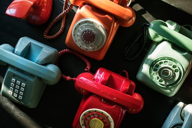 Retro buntes telefon schießen
