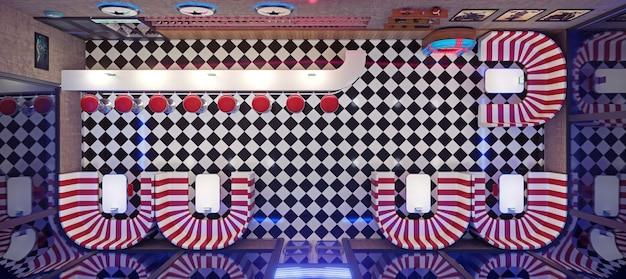 Retro-diner-interieur mit fliesenboden, neonbeleuchtung, jukebox und barhockern im art-deco-stil. 3d-darstellung.