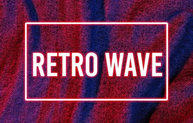 Retro-futurismus. textur der zerknitterten jeans mit rotem blauem neonrahmen