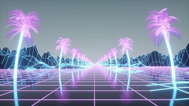 Retro-futuristische palmenallee. synthwave-hintergrund im retro-stil der 80er jahre. 3d-rendering.