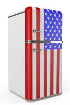 Retro-kühlschrank mit der usa-flagge auf weißem hintergrund