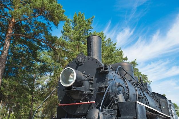 Retro- lokomotive auf hintergrund des waldes und des blauen himmels. transportthema.