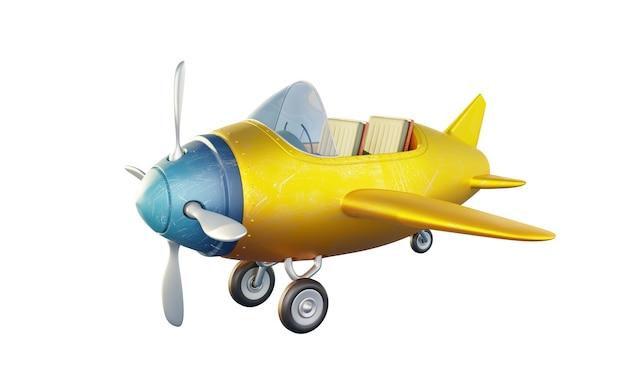 Retro niedliches gelbes und blaues zweisitziges flugzeug lokalisiert auf weißem hintergrund. 3d-rendering .