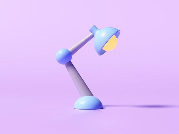 Retro schreibtischlampe auf lila hintergrund. 3d-darstellung.
