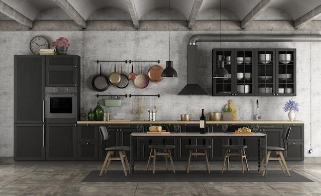 Retro schwarze küche in einem schmutzinneren