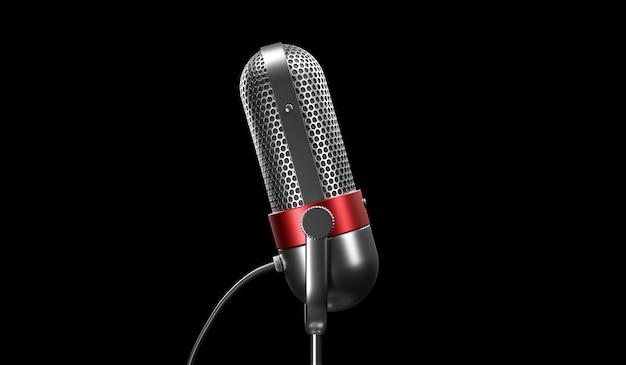 Retro-silber- und rotfarbenchrom der alten mode mit knopfentwurfsmikrofon lokalisiert auf schwarzem hintergrund