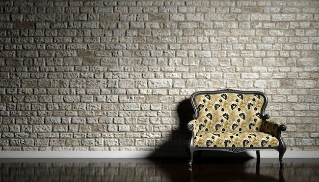 Retro-sofa auf dem hintergrund einer alten backsteinmauer, 3d illustration