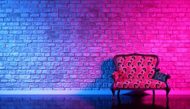 Retro-sofa auf dem hintergrund einer alten backsteinmauer im enon licht, 3d illustration