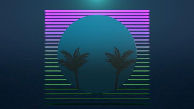 Retro sommer abstrakter hintergrund, palmen im rahmen. elegante und luxuriöse 3d-illustration im stil der 80er und 90er jahre
