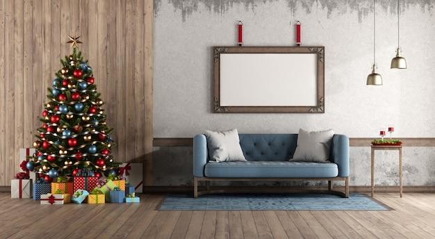 Retro-stil wohnzimmer mit weihnachtsbaum