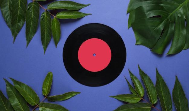 Retro-stilhintergrund. schallplatte unter tropischen grünen blättern auf einem purpur